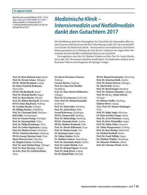 10 Medizinische Klinik – Intensivmedizin und Notfallmedizin dankt den Gutachtern 2017