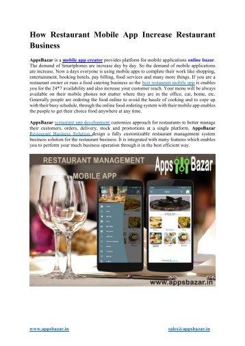 How Restaurant Mobile App Increase Restaurant Business