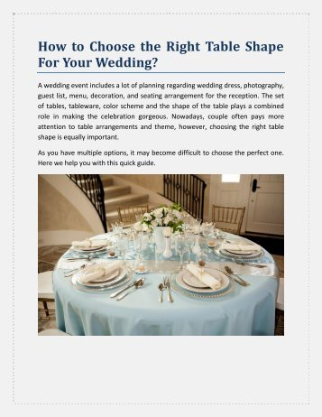 How to Choose the Right Table Shape For Your Wedding
