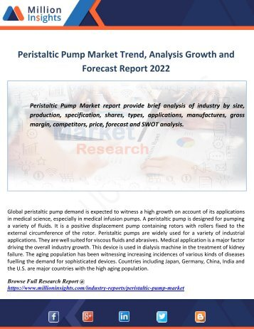 Peristaltic Pump Market Trend,Analysis Growth and Forecast Report 2022