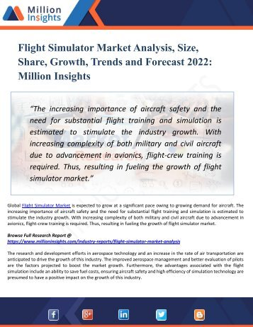 Flight Simulator Market by 2022 Analysis, Growth, Drivers, Challenges, Opportunities, Vendors, Types, Applications, Regions, & Forecast
