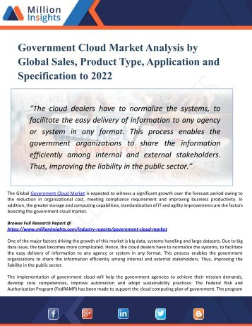 Government Cloud Market - Global Industry Analysis, Size, Share, Growth, Trends, and Forecast 2017 - 2022