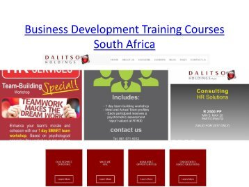 Business Development Training Courses South Africa
