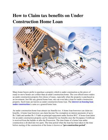 How to Claim tax benefits on Under Construction Home Loan