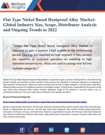 Flat Type Nickel Based Heatproof Alloy Market- Global Industry Size, Scope, Distributor Analysis and Ongoing Trends to 2022