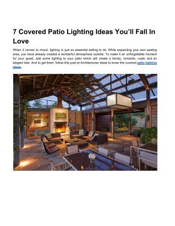 Covered Patio Lighting Ideas You'll Fall In Love