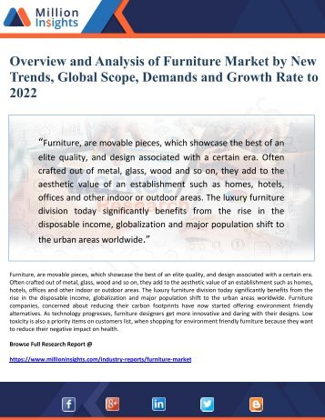 Overview and Analysis of Furniture Market by New Trends, Global Scope, Demands and Growth Rate to 2022