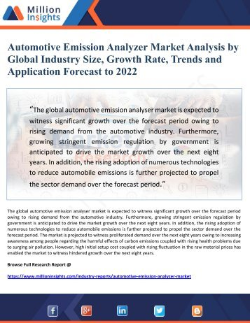 Automotive Emission Analyzer Market Analysis by Global Industry Size, Growth Rate, Trends and Application Forecast to 2022