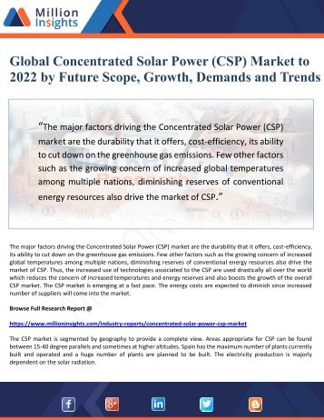 Global Concentrated Solar Power (CSP) Market to  2022 by Future Scope, Growth, Demands and Trends