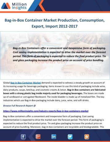 Bag-in-Box Container Market Production, Consumption, Export, Import 2012-2017