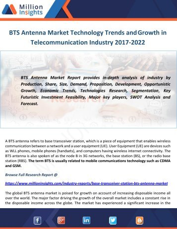 BTS Antenna Market Technology Trends and Growth in Telecommunication Industry 2022
