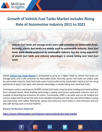 Growth of Vehicle Fuel Tanks Market includes Rising Rate of Automotive Industry 2011 to 2021