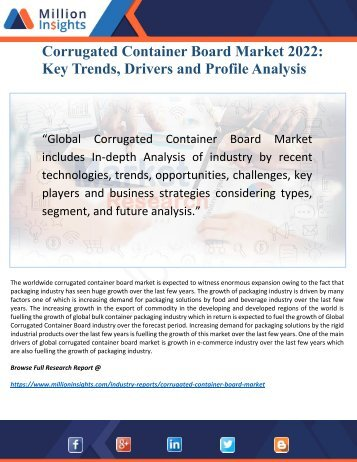 Corrugated Container Board Market Research by Benefits, Capacity and Analysis Forecast to 2022