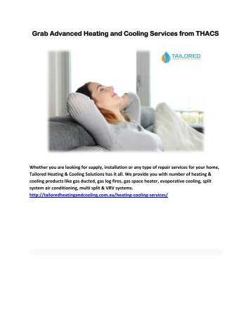 Grab Advanced Heating and Cooling Services from THACS