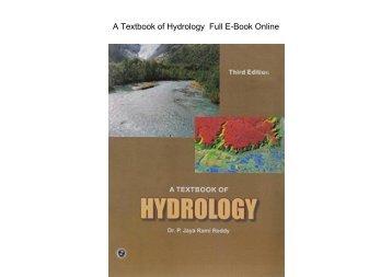 A Textbook of Hydrology