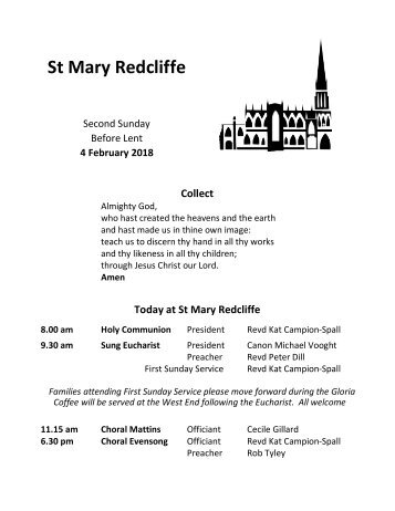 St Mary Redcliffe Church Pew Leaflet - February 4 2018