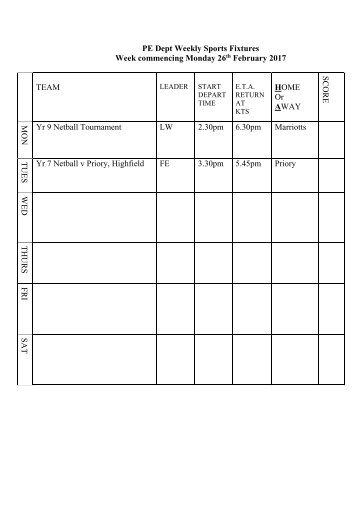 Fixtures 26 Feb