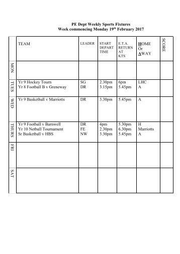 Fixtures 19 Feb