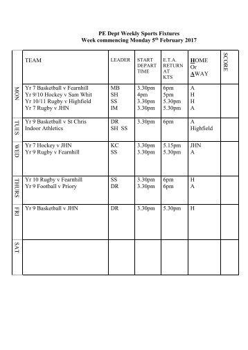 Fixtures 5 Feb