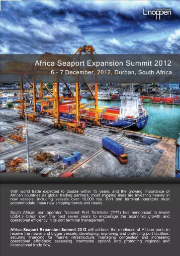 Africa Seaport Expansion Summit 2012 - The South African Institute ...