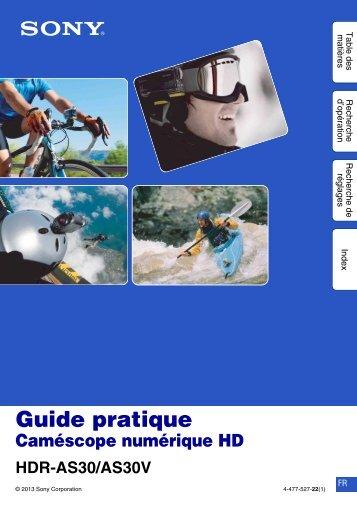 Sony HDR-AS30VD - HDR-AS30VD Guide pratique Français