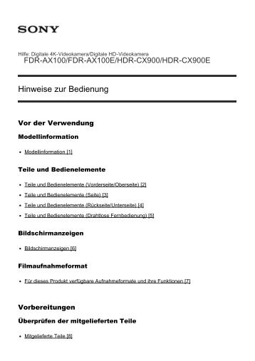 Sony HDR-CX900E - HDR-CX900E Manuel d'aide (version imprimable) Allemand