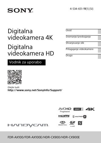 Sony HDR-CX900E - HDR-CX900E Consignes d'utilisation Slovénien