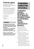 Sony HDR-CX900E - HDR-CX900E Consignes d'utilisation Slovénien - Page 2