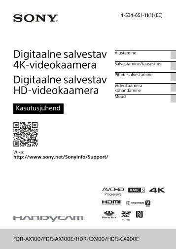 Sony HDR-CX900E - HDR-CX900E Consignes d'utilisation Estonien