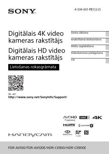 Sony HDR-CX900E - HDR-CX900E Consignes d'utilisation Letton
