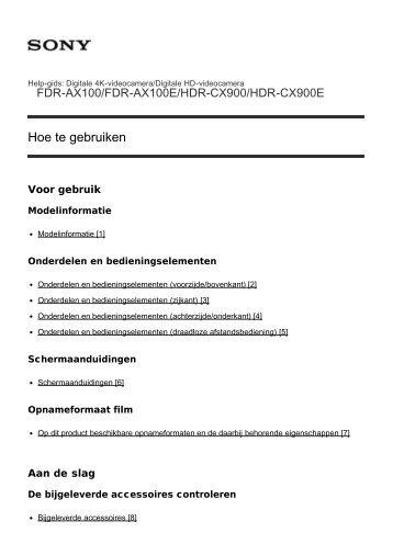 Sony HDR-CX900E - HDR-CX900E Manuel d'aide (version imprimable) Néerlandais
