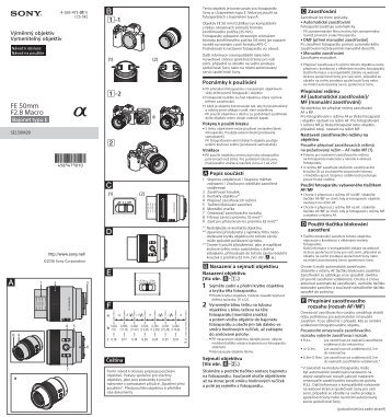 Sony SEL50M28 - SEL50M28 Consignes d'utilisation Slovaque