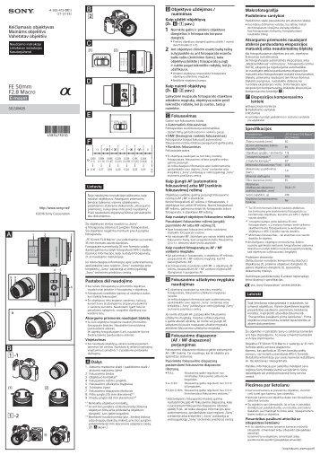 Sony SEL50M28 - SEL50M28 Consignes d'utilisation Lituanien