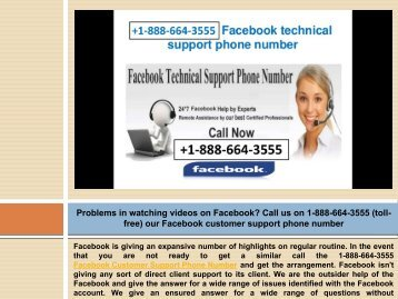 Dial 1-888-664-3555 Facebook Technical support To Deal With The Problems