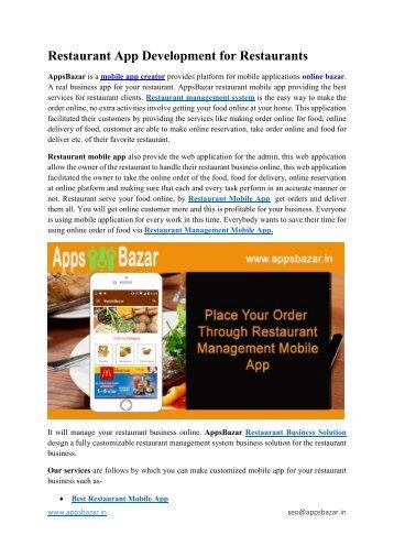 Restaurant App Development for Restaurants