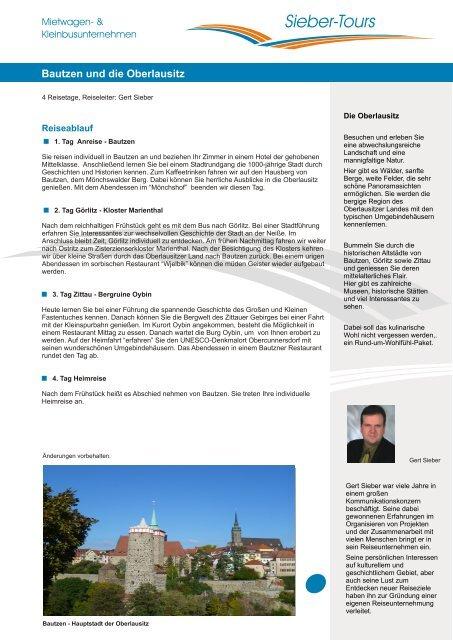 A4-Blatt Leistungsbeschreibung Bautzen Oberlausitz ... - Sieber-Tours