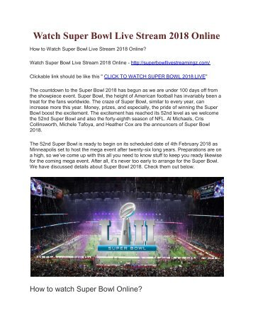 How to Watch Super Bowl Live Stream 2018 Online?