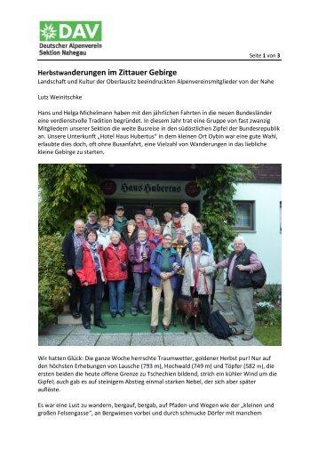 Herbstwanderungen im Zittauer Gebirge - Sektion Nahegau