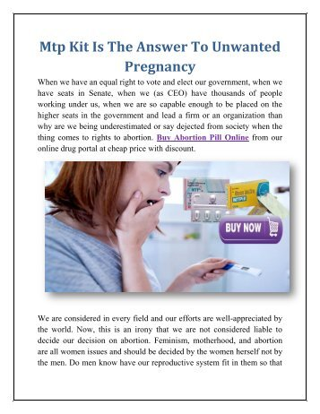 Mtp Kit Is The Answer To Unwanted Pregnancy