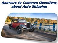 Answers to Common Questions about Auto Shipping