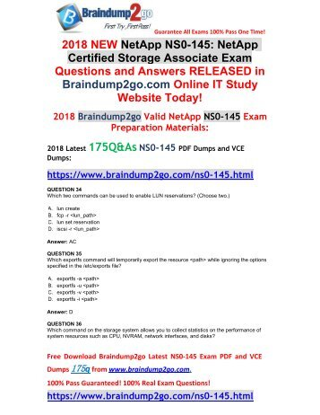 [2018-February-Version] New NS0-145 PDF and VCE Dumps 175Q&As Free Share(34-44)