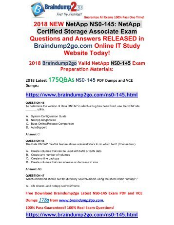 [2018-February-Version] New NS0-145 VCE and NS0-145 PDF Dumps 175Q&As Free Share(45-55)