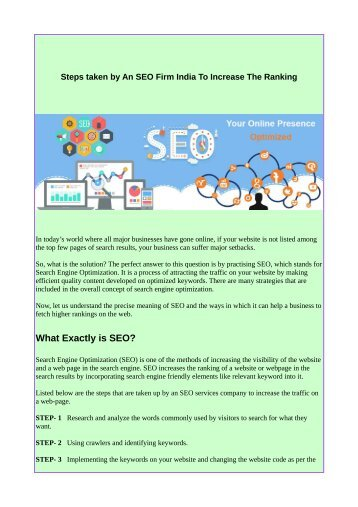 Steps taken by An SEO Firm India To Increase The Ranking