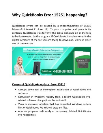 Why QuickBooks Error 15251 happening