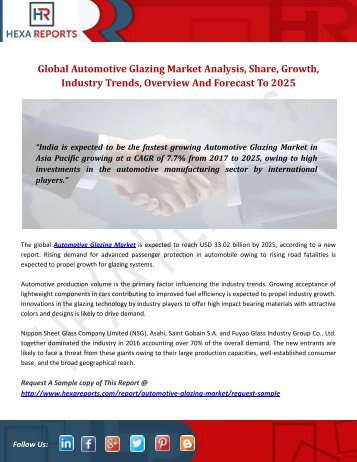 Global Automotive Glazing Market Analysis, Share, Growth, Industry Trends, Overview And Forecast To 2025