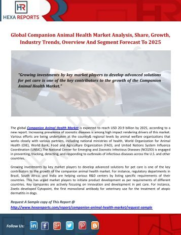 Global Companion Animal Health Market Analysis, Share, Growth, Industry Trends, Overview And Segment Forecast To 2025