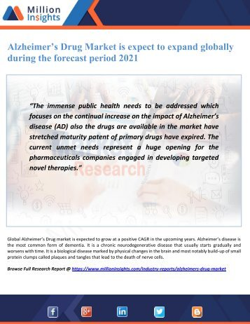 Alzheimer's Drug Market is expect to expand globally during the forecast period 2021
