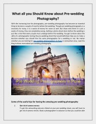 What all You Should Know about Pre-Wedding Photography