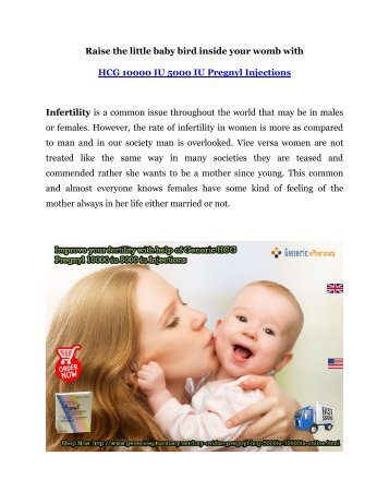 Buy HCG Pregnyl Injections for Sale at GenericEPharmacy to overcome Infertility