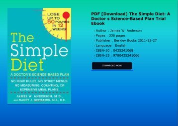 PDF [Download] The Simple Diet: A Doctor s Science-Based Plan Trial Ebook